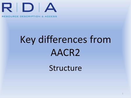 Key differences from AACR2 Structure 1. Learning Outcomes Understand similarities between RDA and AACR2 Understand the structural differences between.