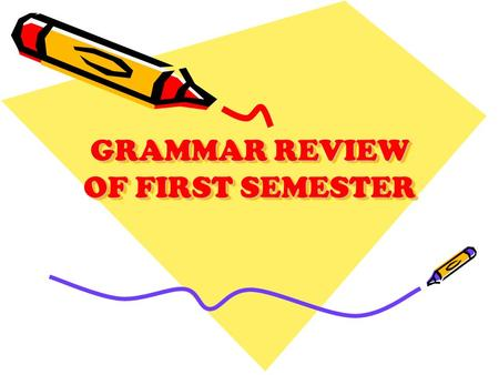 GRAMMAR REVIEW OF FIRST SEMESTER. PART OF THE SENTENCE Subject Predicate Linking Verb Action Verb Direct Object Indirect Object Predicate Adjective Predicate.