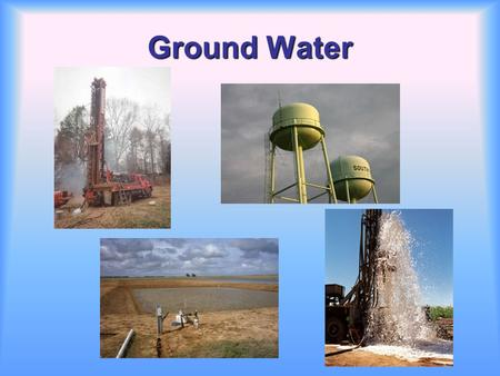 Ground Water. Ground water is water found beneath the ground surface. –It occupies the pore space between grains in bodies of sediment and sedimentary.