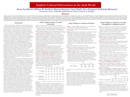 Implicit Cultural Orientations in the Arab World Alvaro San Martin 1, William W. Maddux 2, Marwan Sinaceur 3, Amer Madi 2, Steve Tompson 4, & Shinobu Kitayama.
