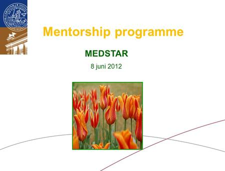 Mentorship programme MEDSTAR 8 juni 2012. Why Mentorship programmes?  personal support to achieve your own and organizational goals  provide tools for.