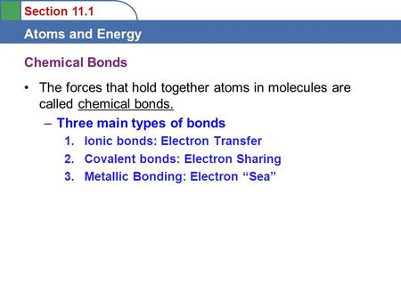 Section 11.1 Atoms and Energy Chemical Bonds The forces that hold together atoms in molecules are called chemical bonds. –Three main types of bonds 1.Ionic.
