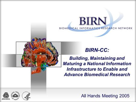 All Hands Meeting 2005 BIRN-CC: Building, Maintaining and Maturing a National Information Infrastructure to Enable and Advance Biomedical Research.
