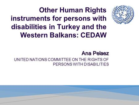 Other Human Rights instruments for persons with disabilities in Turkey and the Western Balkans: CEDAW Ana Pelaez UNITED NATIONS COMMITTEE ON THE RIGHTS.