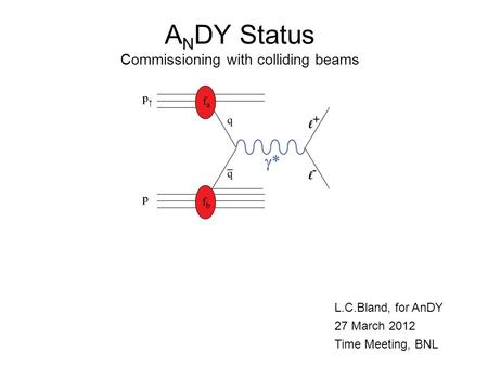 A N DY Status Commissioning with colliding beams L.C.Bland, for AnDY 27 March 2012 Time Meeting, BNL.