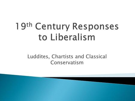 Luddites, Chartists and Classical Conservatism.