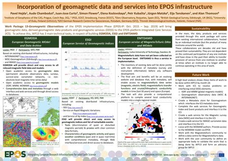 Incorporation of geomagnetic data and services into EPOS infrastructure Pavel Hejda 1, Aude Chambodut 2, Juan-Jose Curto 3, Simon Flower 4, Elena Kozlovskaya.