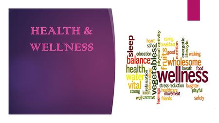 HEALTH & WELLNESS. 7 Dimensions of Wellness Wellness a state of complete physical, mental, and social well- being; not merely the absence of disease.