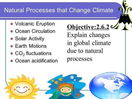 Natural Processes that Change Climate Volcanic Eruption Ocean Circulation Solar Activity Earth Motions CO 2 fluctuations Ocean acidification Objective:2.6.2.