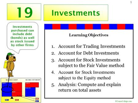 ©CourseCollege.com 1 19 Investments Learning Objectives 1.Account for Trading Investments 2.Account for Debt Investments 3.Account for Stock Investments.