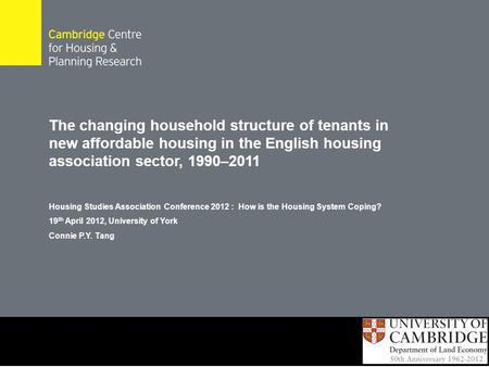 The changing household structure of tenants in new affordable housing in the English housing association sector, 1990–2011 Housing Studies Association.