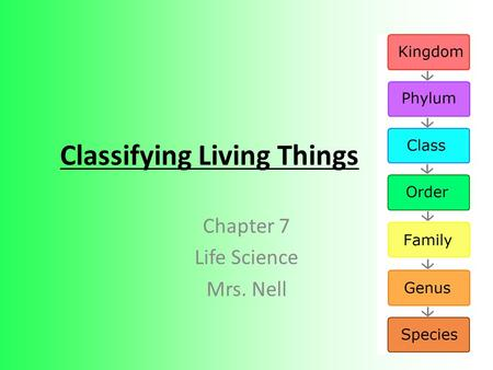 Classifying Living Things Chapter 7 Life Science Mrs. Nell.