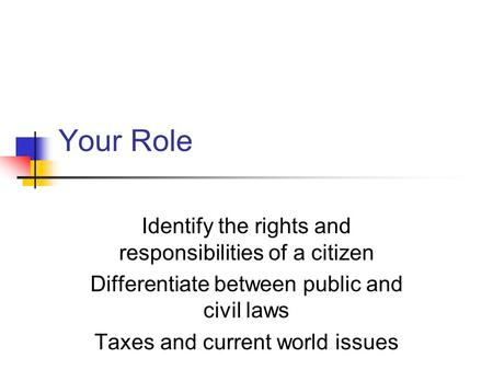 Your Role Identify the rights and responsibilities of a citizen Differentiate between public and civil laws Taxes and current world issues.