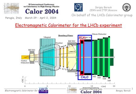 Sergey BarsukElectromagnetic Calorimeter for 1 Electromagnetic Calorimeter for the LHCb experiment Perugia, Italy March 29 – April 2, 2004 ECAL CALO Sergey.