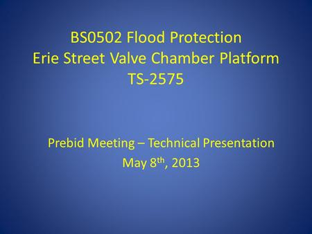 BS0502 Flood Protection Erie Street Valve Chamber Platform TS-2575 Prebid Meeting – Technical Presentation May 8 th, 2013.