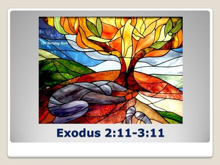 Exodus 2:11-3:11. Exodus 2:24 God heard their groaning and he remembered his covenant with Abraham, with Isaac and with Jacob…