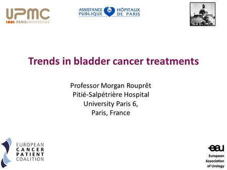 Trends in bladder cancer treatments Professor Morgan Rouprêt Pitié-Salpétrière Hospital University Paris 6, Paris, France.