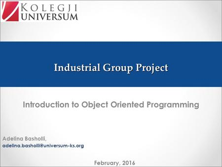 Industrial Group Project Introduction to Object Oriented Programming Adelina Basholli, February, 2016.