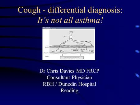 Cough - differential diagnosis: It's not all asthma! Dr Chris Davies MD FRCP Consultant Physician RBH / Dunedin Hospital Reading.