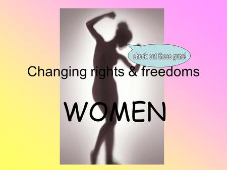 Changing rights & freedoms WOMEN. Glossary terms  Affirmative action  Breadwinner  Discrimination  Feminist  No-fault divorce  Nuclear family 