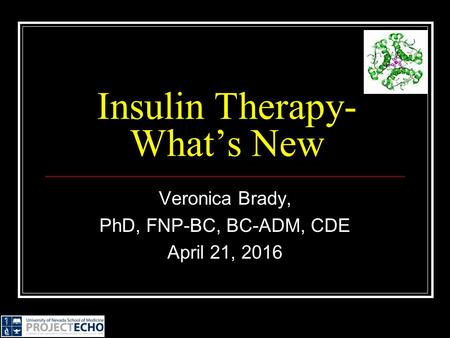 Veronica Brady, PhD, FNP-BC, BC-ADM, CDE April 21, 2016 Insulin Therapy- What's New.