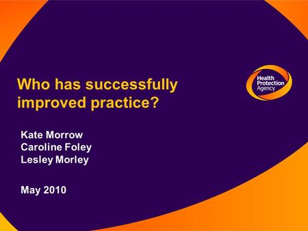 Who has successfully improved practice? Kate Morrow Caroline Foley Lesley Morley May 2010.