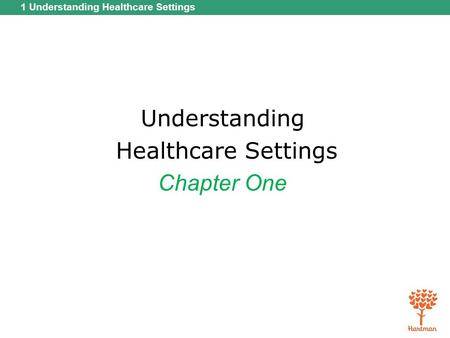 1 Understanding Healthcare Settings Understanding Healthcare Settings Chapter One.