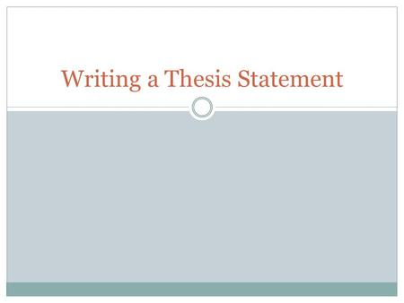 Writing a Thesis Statement. What is a thesis? Your thesis is essentially the answer you give to the issue or problem posed in your essay question It is.