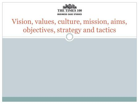 Vision, values, culture, mission, aims, objectives, strategy and tactics.