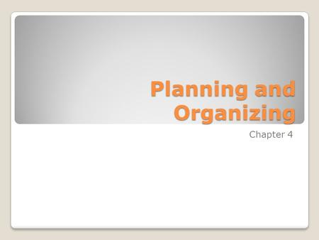 Planning and Organizing Chapter 4. The Planning Function Business Plan – a written description of the nature of the business, its goals, and objectives,