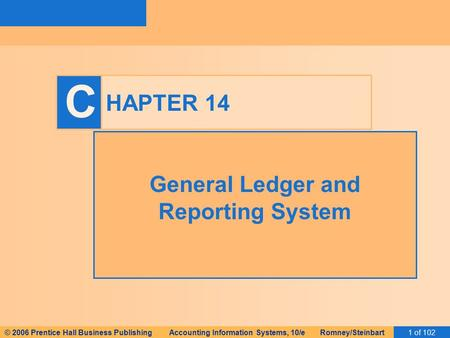© 2006 Prentice Hall Business Publishing Accounting Information Systems, 10/e Romney/Steinbart1 of 102 C HAPTER 14 General Ledger and Reporting System.