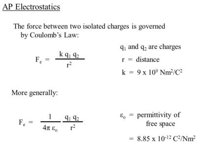 AP Electrostatics The force between two isolated charges is governed by Coulomb's Law: F e = k q 1 q 2 r2r2 q 1 and q 2 are charges r = distance k = 9.