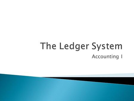 Accounting I.  General Ledger  Ledger Accounting Form  Posting.