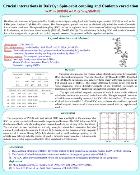 Crucial interactions in BaIrO 3 : Spin-orbit coupling and Coulomb correlation W.W. Ju ( 琚伟伟 ) and Z. Q. Yang*( 杨中芹 ) Abstract The electronic structures.