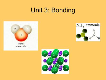 Unit 3: Bonding. Energy and Chemical Bonds Chemical bonds are forces that hold atoms together in a compound Bonds are formed by either: 1.The transfer.