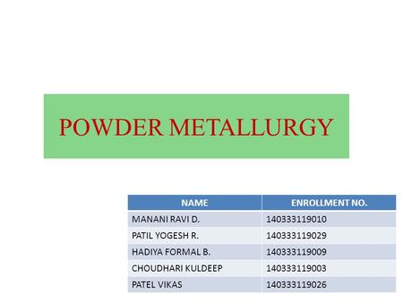 POWDER METALLURGY NAMEENROLLMENT NO. MANANI RAVI D.140333119010 PATIL YOGESH R.140333119029 HADIYA FORMAL B.140333119009 CHOUDHARI KULDEEP140333119003.