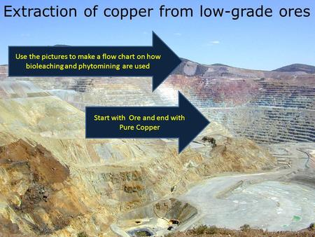 Extraction of copper from low-grade ores Start with Ore and end with Pure Copper Use the pictures to make a flow chart on how bioleaching and phytomining.