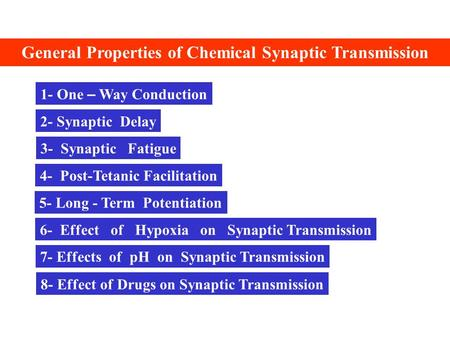 General Properties of Chemical Synaptic Transmission 1- One – Way Conduction 2- Synaptic Delay 3- Synaptic Fatigue 4- Post-Tetanic Facilitation 5- Long.