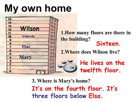 My own home Mary Wilson 1.How many floors are there in the building? 2.Where does Wilson live? 3. Where is Mary's home? Sixteen. He lives on the twelfth.
