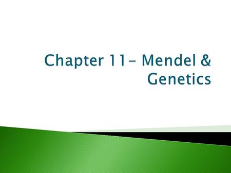 A. Heredity: The passing of traits (characters) from parents to offspring B. Genetics: The branch of biology that studies heredity. 1. Gregor Mendel: