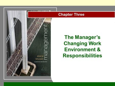 Chapter Three The Manager's Changing Work Environment & Responsibilities.