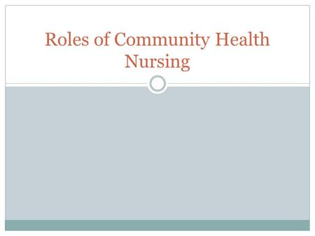 Roles of Community Health Nursing. Learning Objectives 1. Describe and differentiate among seven different roles of the community health nurse 2. Discuss.
