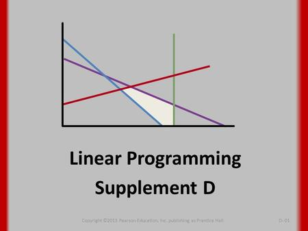 Linear Programming Supplement D Copyright ©2013 Pearson Education, Inc. publishing as Prentice HallD- 01.