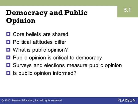 Democracy and Public Opinion  Core beliefs are shared  Political attitudes differ  What is public opinion?  Public opinion is critical to democracy.