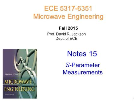 Prof. David R. Jackson Dept. of ECE Notes 15 ECE 5317-6351 Microwave Engineering Fall 2015 S-Parameter Measurements 1.