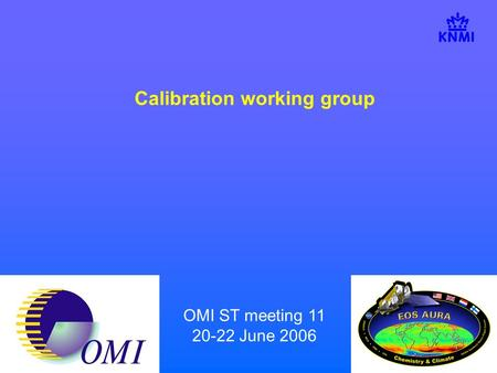 OMI ST meeting 11 20-22 June 2006 Calibration working group.