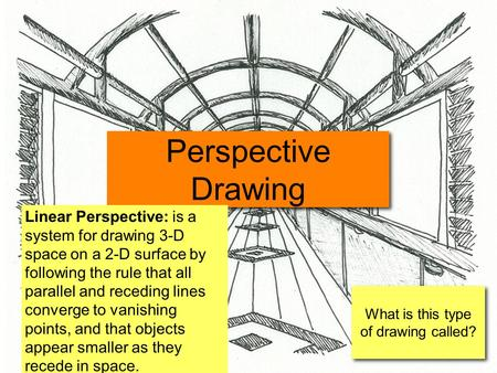 What is this type of drawing called? Perspective Drawing Linear Perspective: is a system for drawing 3-D space on a 2-D surface by following the rule that.