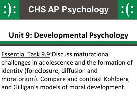 CHS AP Psychology Unit 9: Developmental Psychology Essential Task 9.9:Discuss maturational challenges in adolescence and the formation of identity (foreclosure,