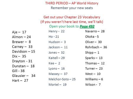 Page 492 THIRD PERIOD – AP World History Remember your new seats Get out your Chapter 23 Vocabulary (If you weren't here last time, we'll talk) Open your.