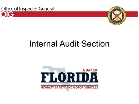 Internal Audit Section. Authorized in Section 20.055, Florida Statutes Section 20.055, Florida Statutes (F.S.), authorizes the Inspector General to review.